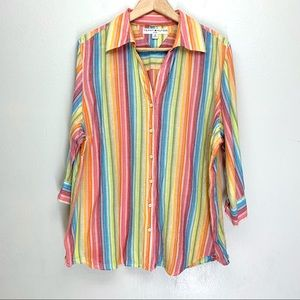 Tommy Hifiger Womens Stripe Button Down Blouse